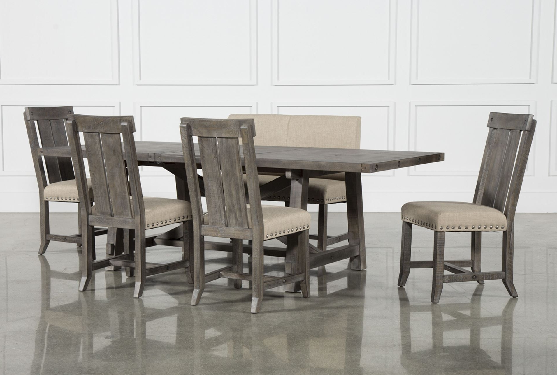 Jaxon Grey Wood Side Chairs With Regard To Most Recent Jaxon Grey 6 Piece Rectangle Extension Dining Set W/bench & Wood (View 10 of 20)