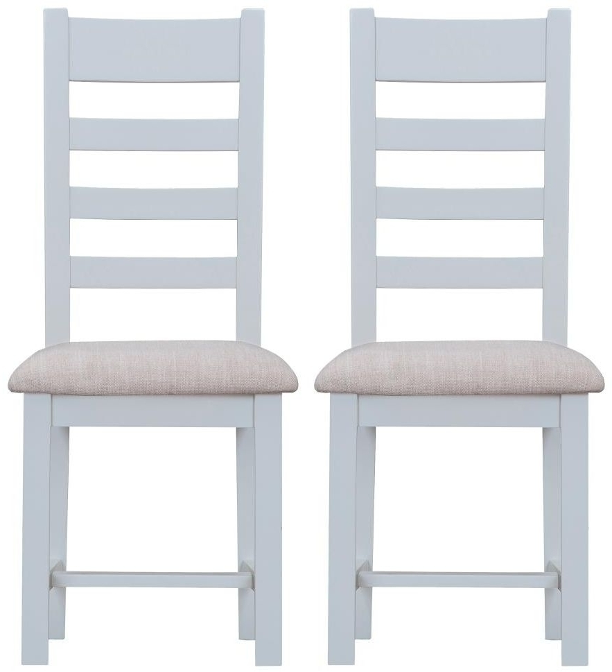 Kent Grey Ladder Back With Fabric Seat Dining Chair (Pair) Within Trendy Kent Dining Chairs (View 15 of 20)