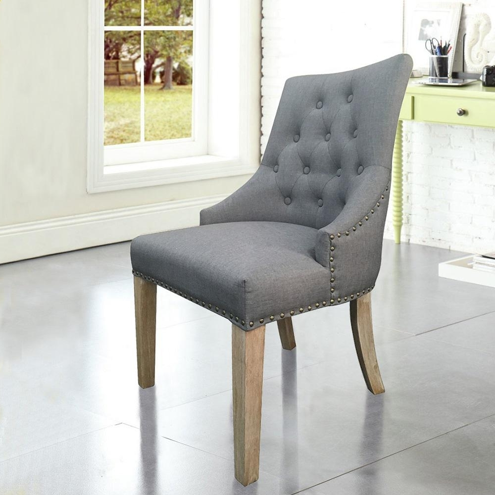 Latest Grey Dining Chairs Within Grey Linen Sexy Back Dining Chair With Copper Nails (Set Of 2) Dwc (View 14 of 20)