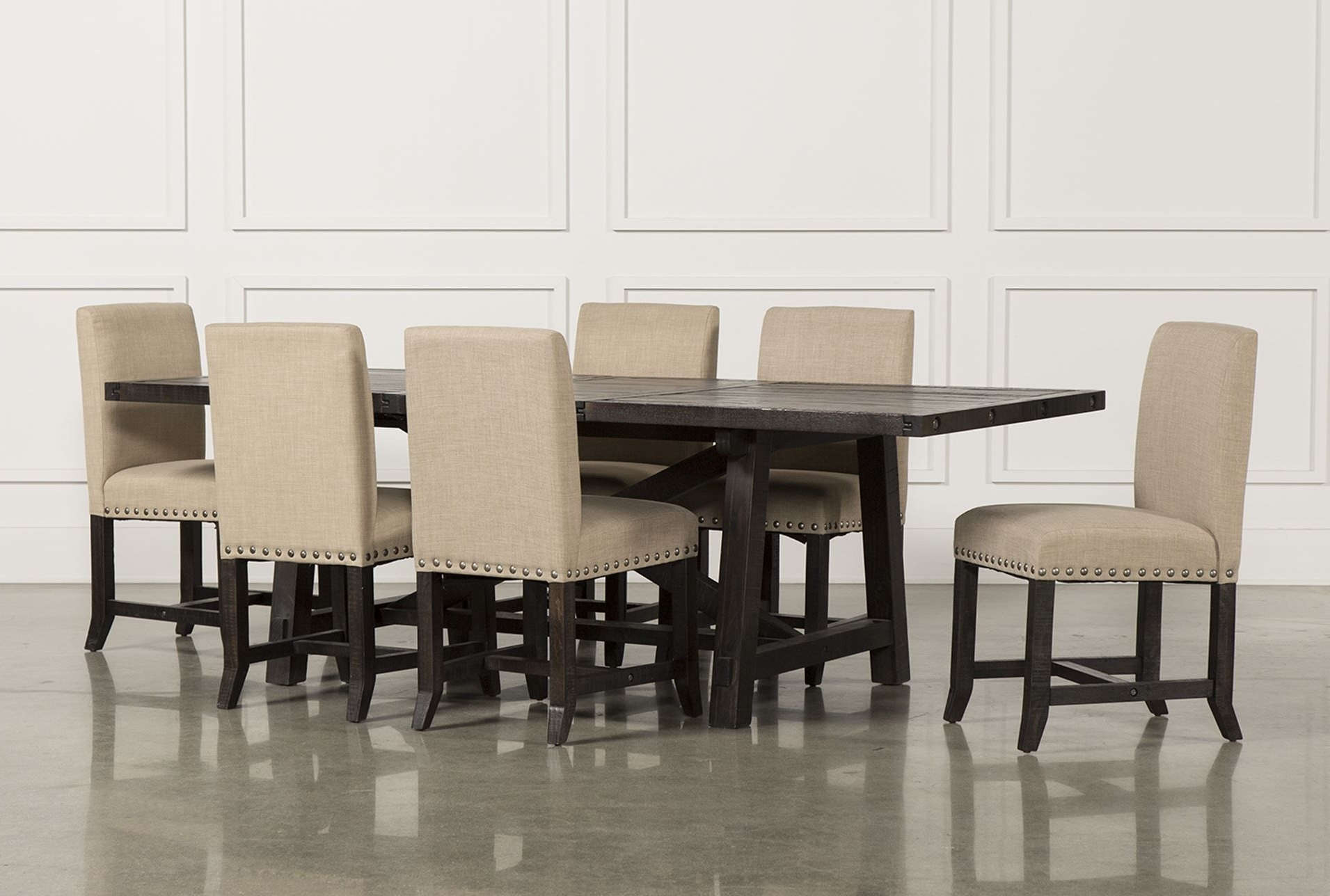 Latest Mindy Slipcovered Side Chairs With Jaxon 7 Piece Rectangle Dining Set W/upholstered Chairs (View 5 of 20)