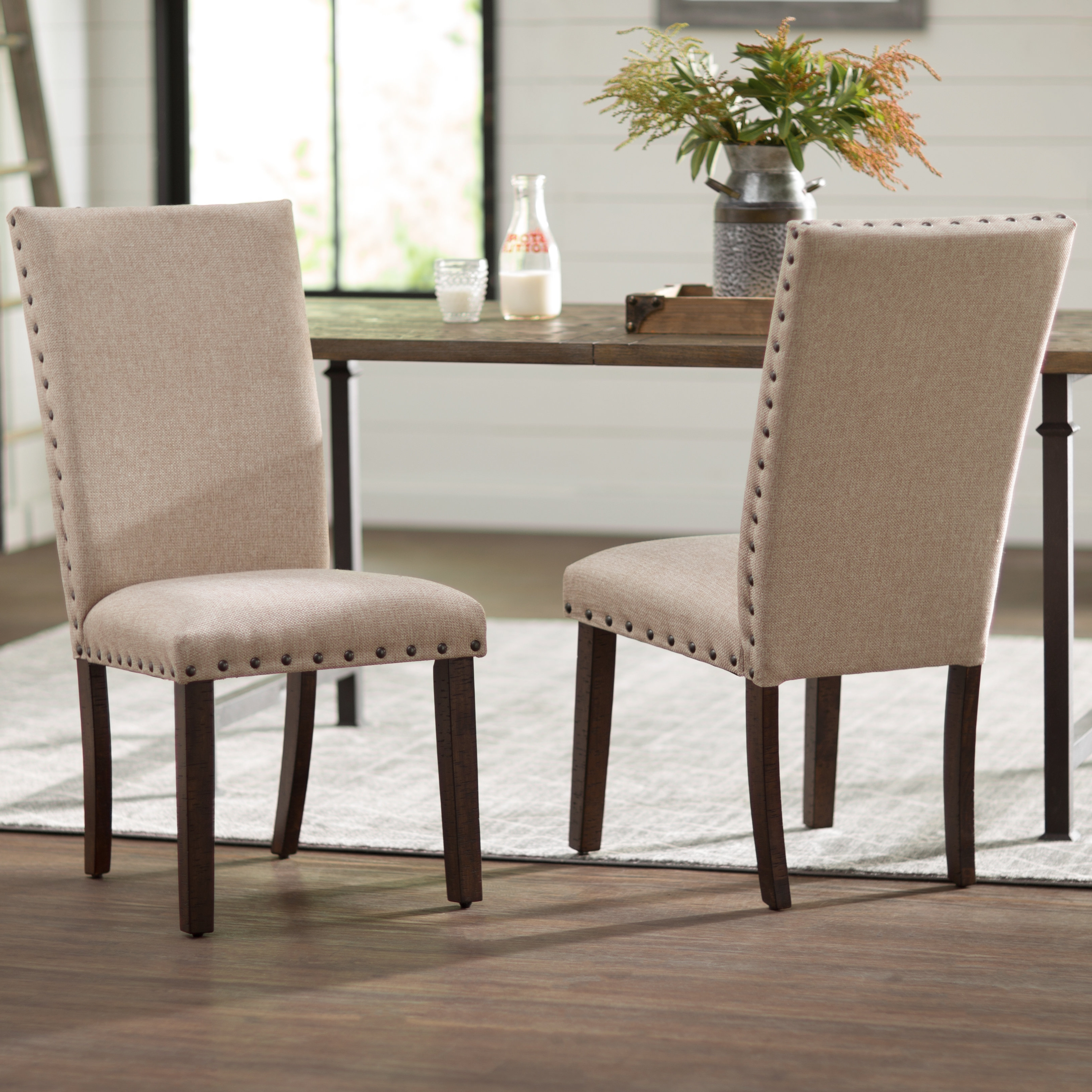 Laurel Foundry Modern Farmhouse Dearing Upholstered Dining Chair Inside Recent Nautical Silver Side Chairs (View 9 of 20)