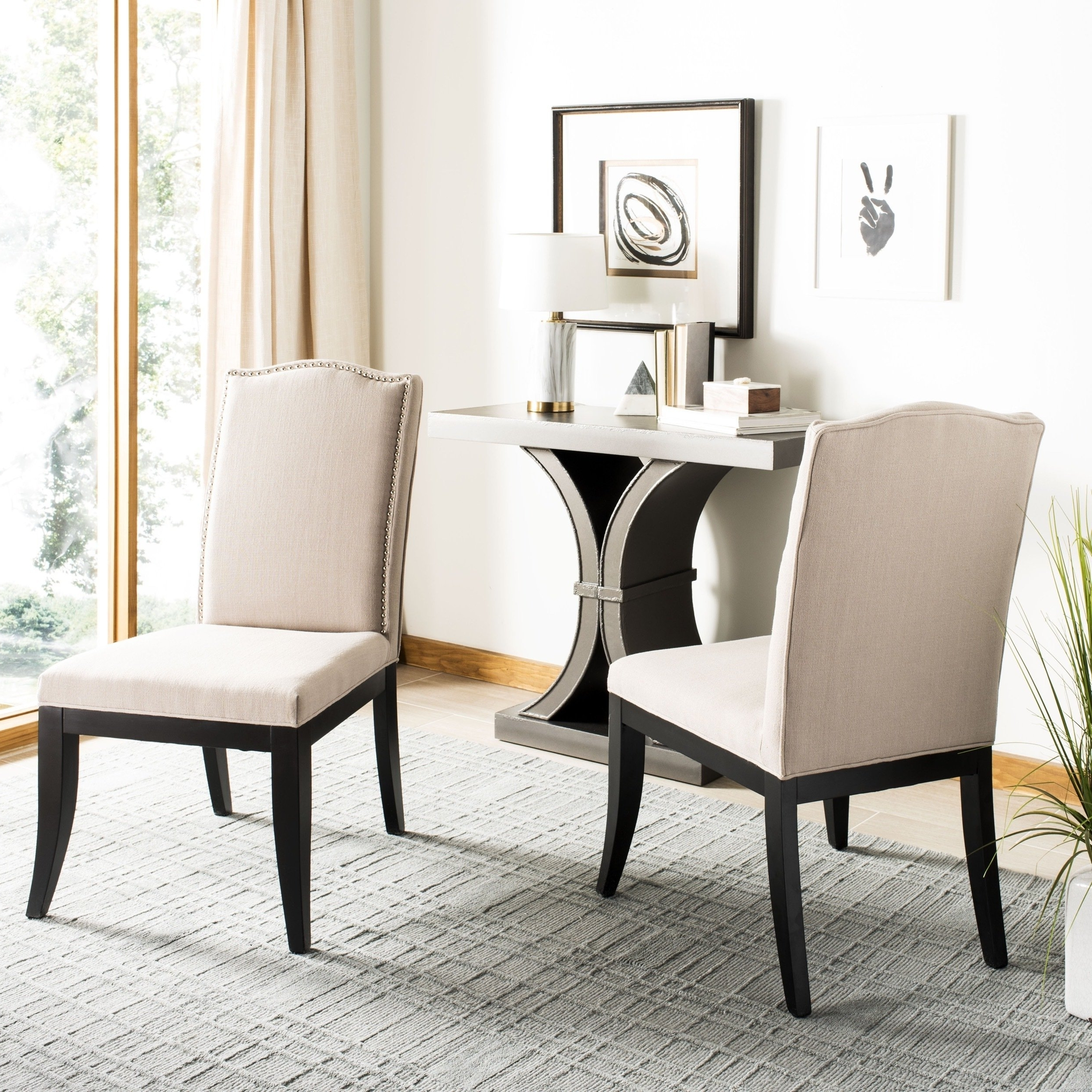 Laurent Wood Side Chairs Regarding Newest Safavieh En Vogue Dining Laurent Taupe Nailhead Dining Chairs (set (View 7 of 20)