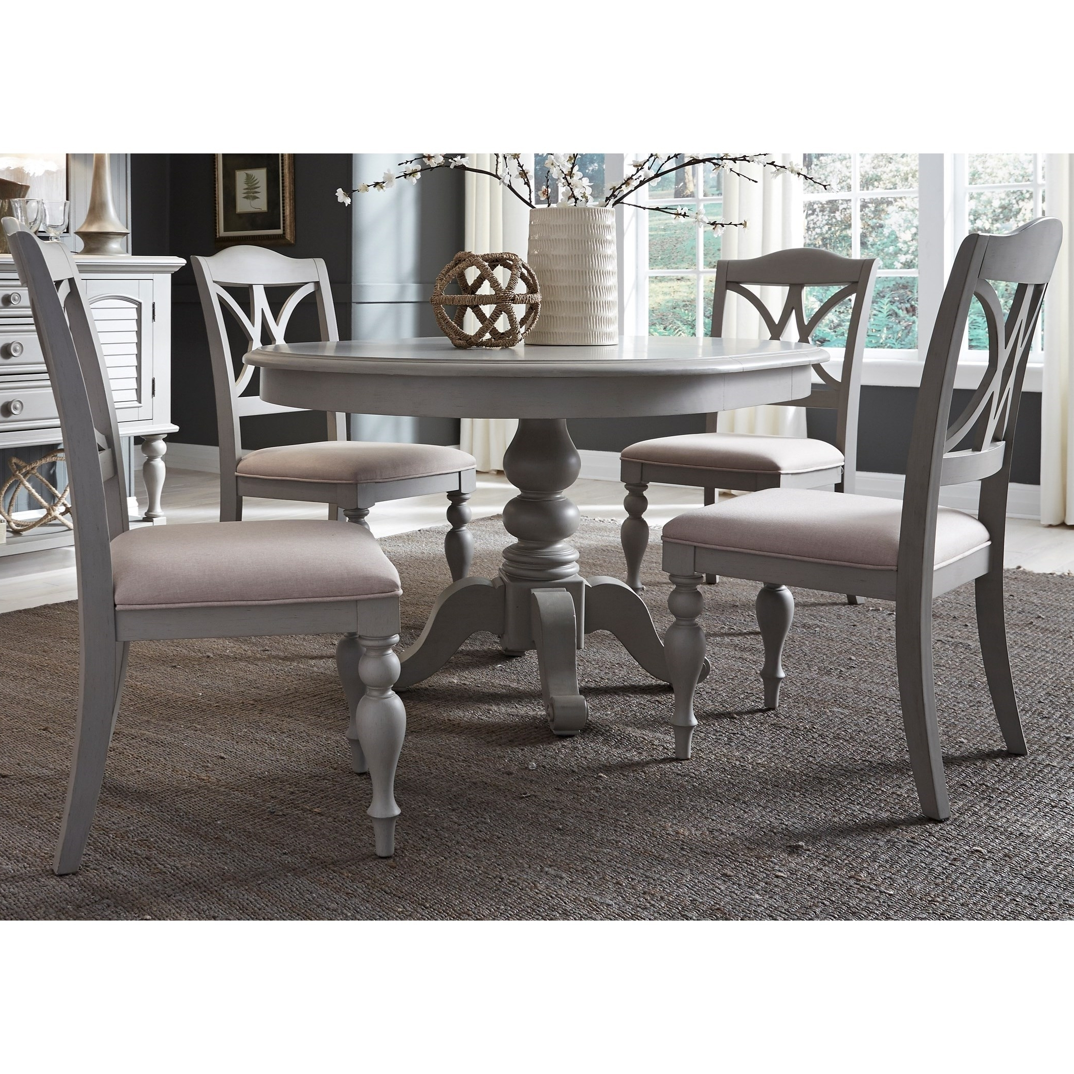Liberty Furniture Summer House Dining 5 Piece Pedestal Table Set Regarding Best And Newest Lindy Dove Grey Side Chairs (Gallery 19 of 20)
