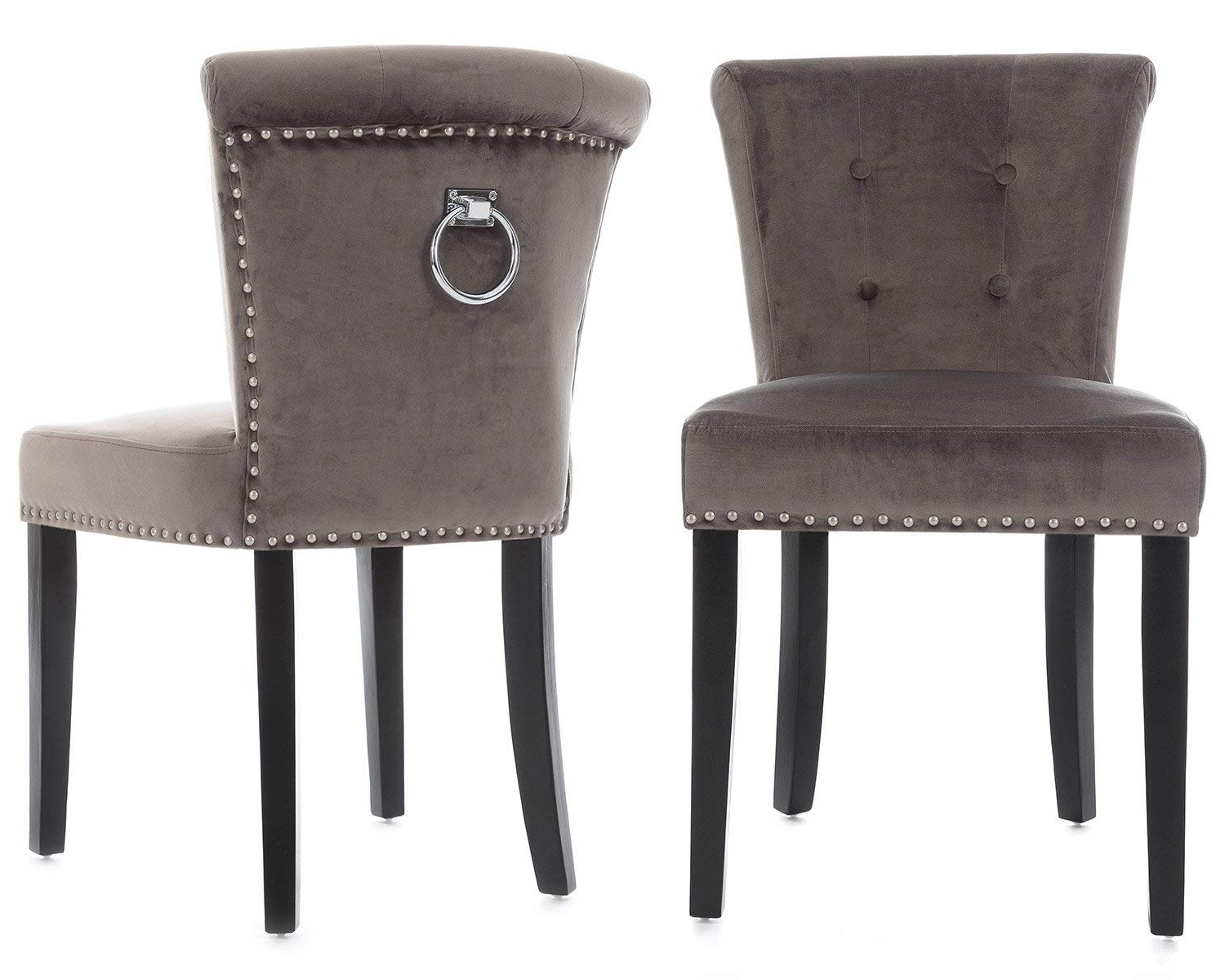 Lifestyle Furniture Pair Camden Dining Chairs In Grey Velvet Chrome In Popular Camden Dining Chairs (View 13 of 20)