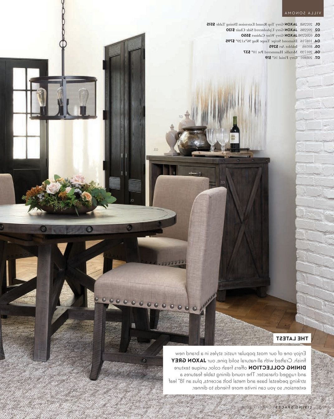 Living Spaces – Spring 2018 – Jaxon Grey Round Extension Dining In Best And Newest Jaxon Grey Upholstered Side Chairs (Gallery 7 of 20)