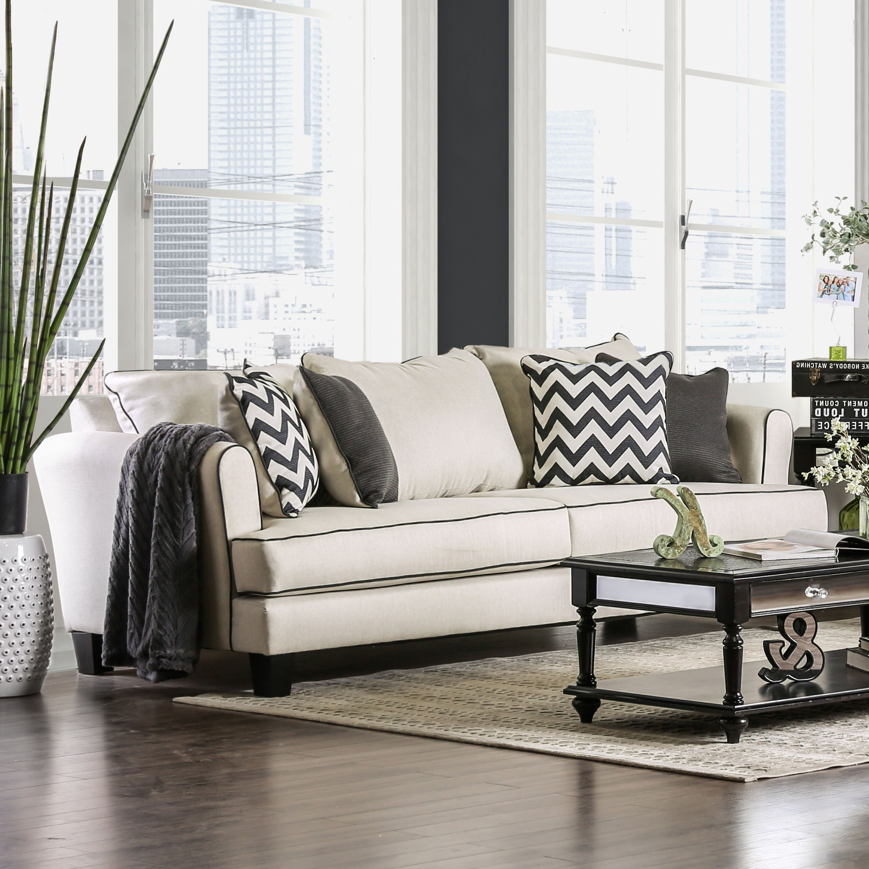 Macie Side Chairs For Favorite Macie Contemporary Off White Fabric Chevron T Cushion Sofa Furniture (View 12 of 20)