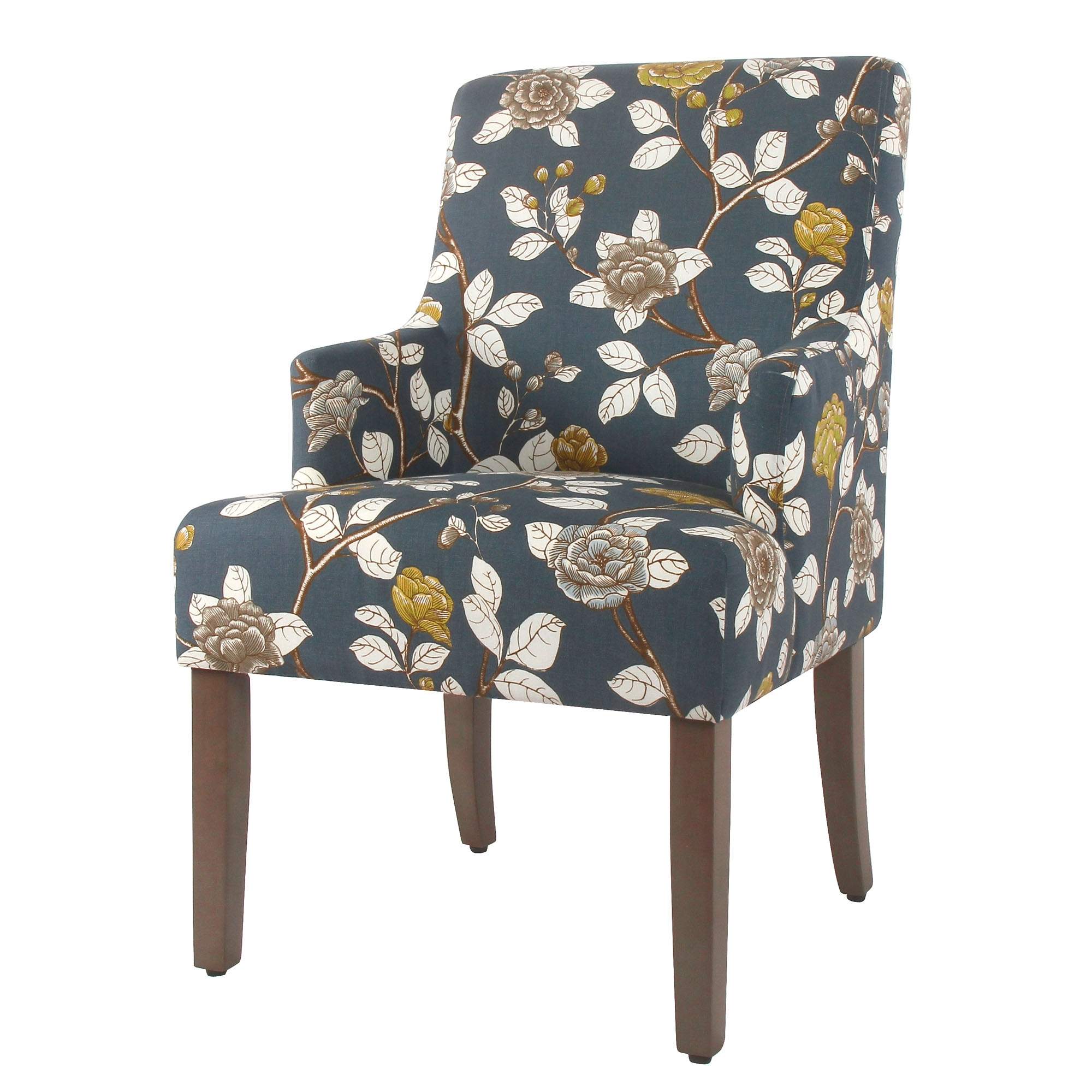 Macie Side Chairs Within Trendy Homepop Meredith Dining Chair Navy Floral Front Right Swoop Arm (View 14 of 20)