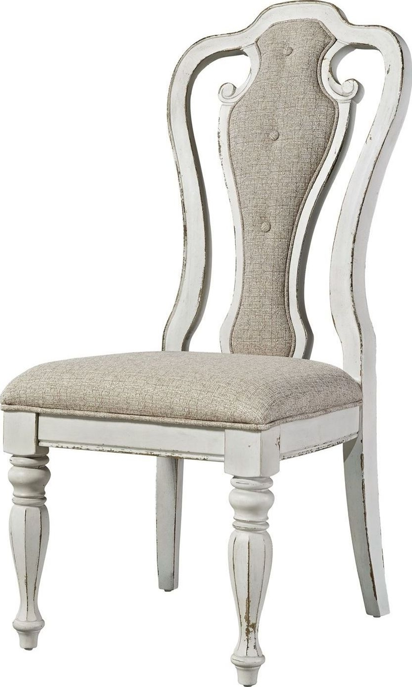 Magnolia Manor Antique White Splat Back Arm Chair From Liberty Throughout Popular Magnolia Home Hamilton Saddle Side Chairs (View 18 of 20)