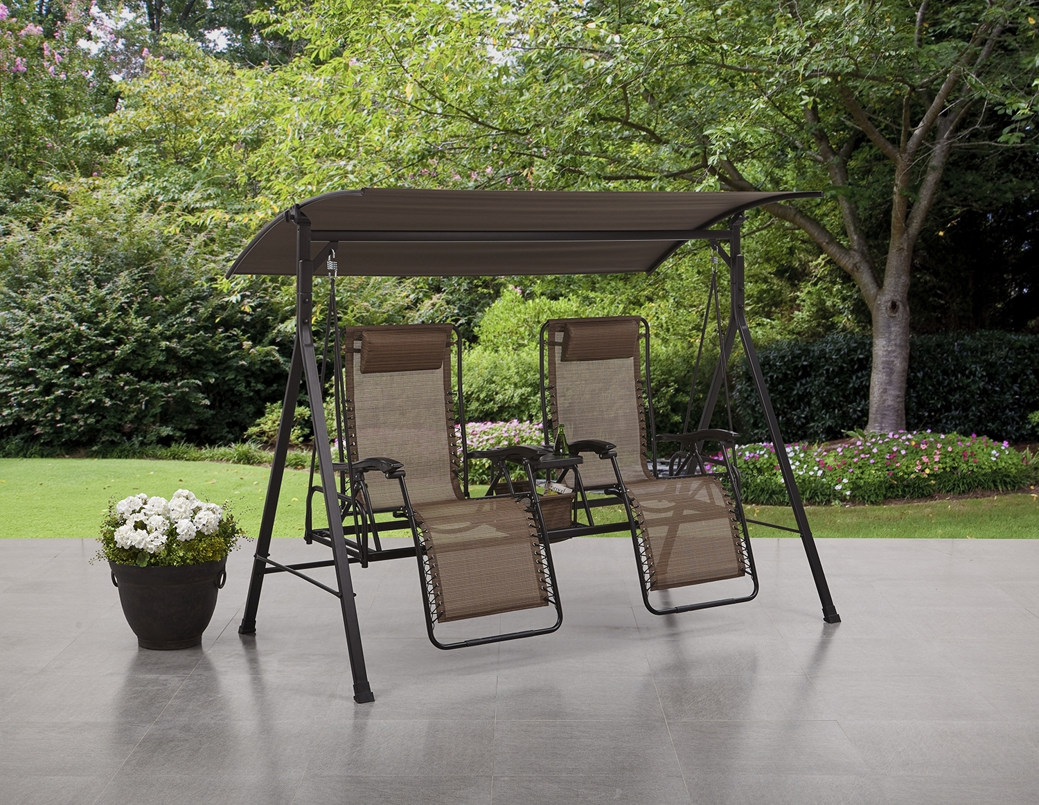 Mainstays Big And Tall Zero Gravity Outdoor Reclining Porch Swing Throughout Latest Garten Storm Chairs With Espresso Finish Set Of (View 6 of 20)