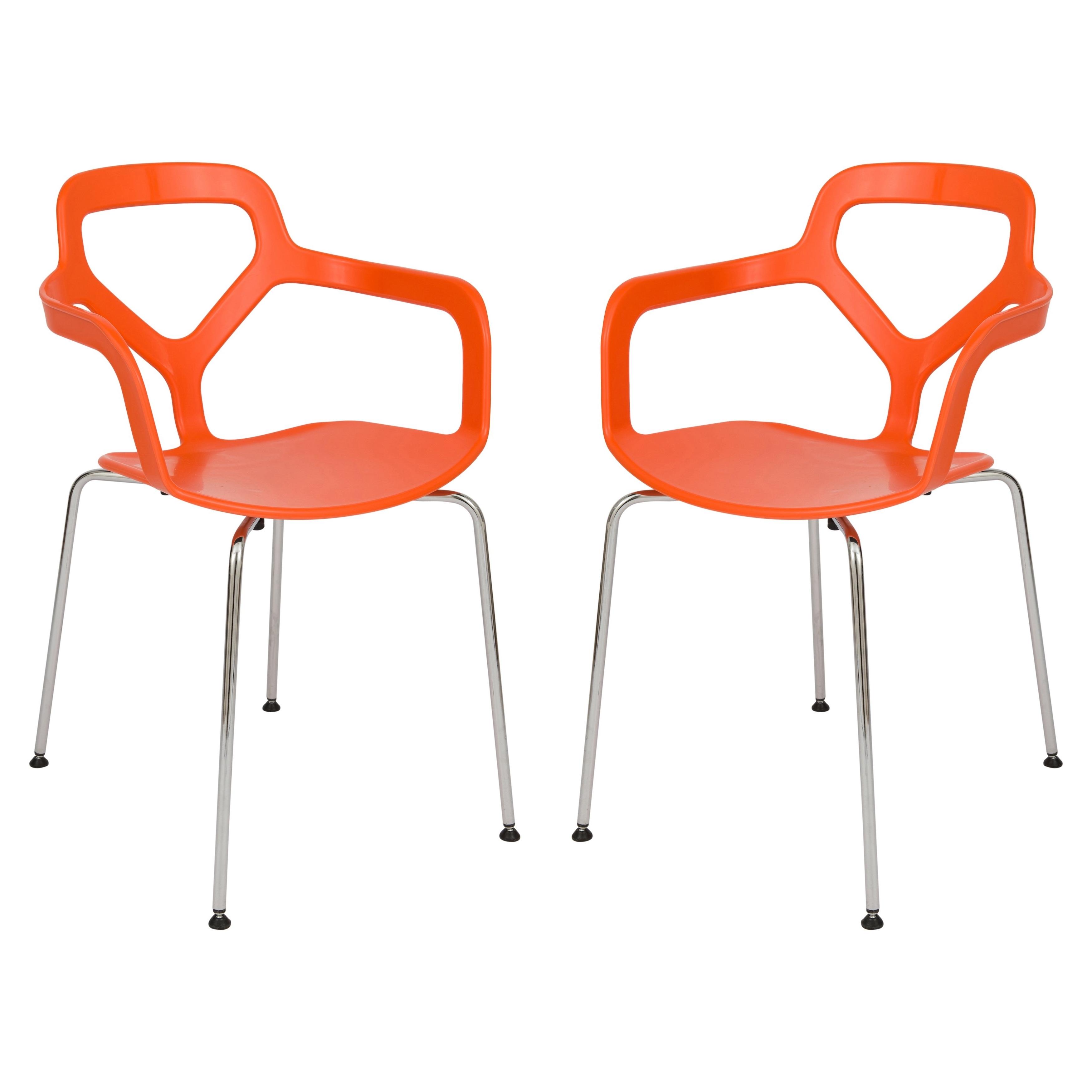 Mod Ii Arm Chairs Inside Latest Leisuremod Modern Carney Orange Arm Chair W/ Chrome Legs, Set Of (View 10 of 20)