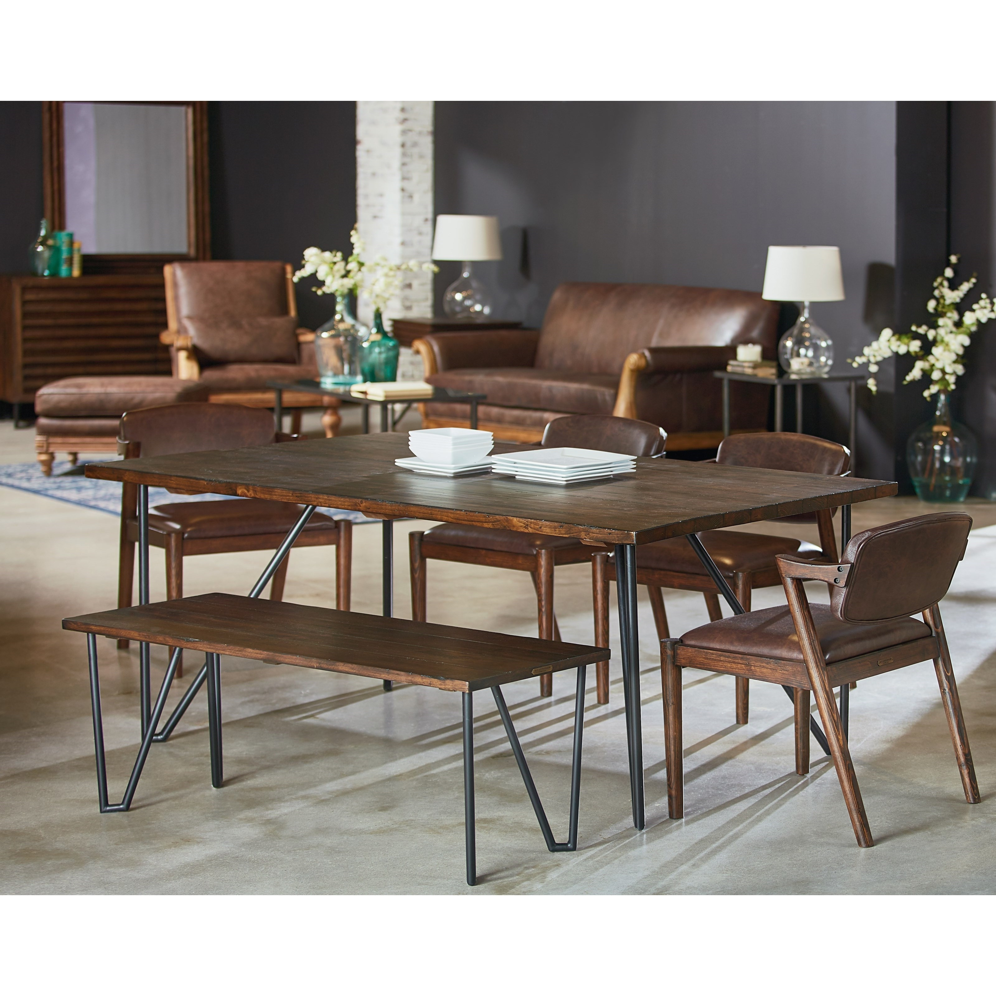 Most Current 6 Piece Table And Chair Set With Bench And Metal Hairpin Legs In Magnolia Home Entwine Rattan Arm Chairs (View 9 of 20)