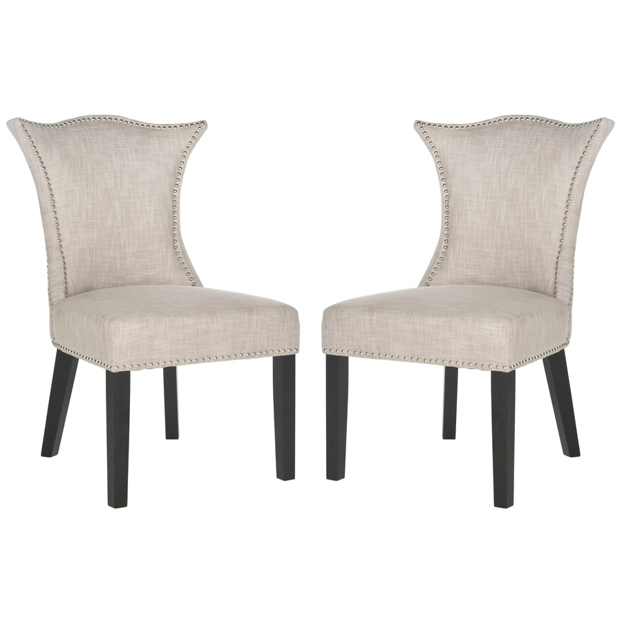 Most Current Shop Safavieh Set Of 2 Ciara Side Chairs At Lowes In Caira Black Upholstered Arm Chairs (View 13 of 20)