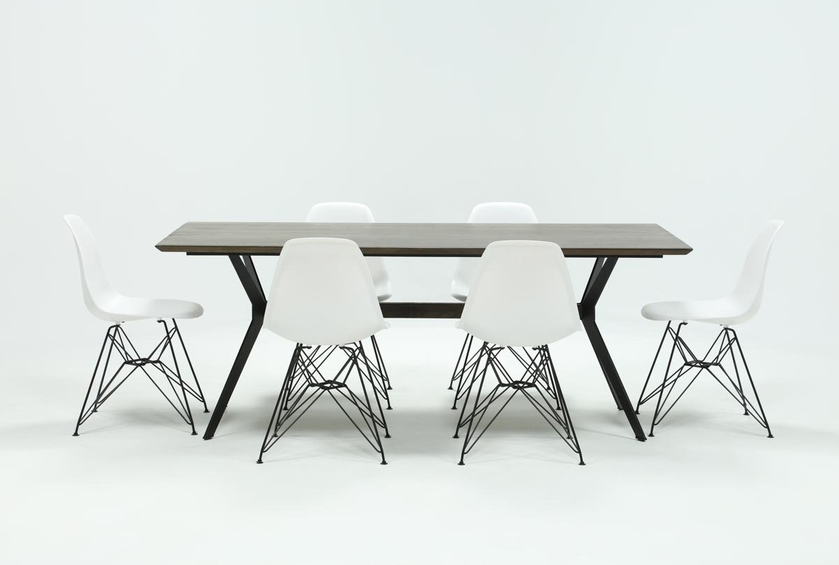 Most Current Weaver Dark 7 Piece Dining Set With Alexa White Side Chairs (View 15 of 20)