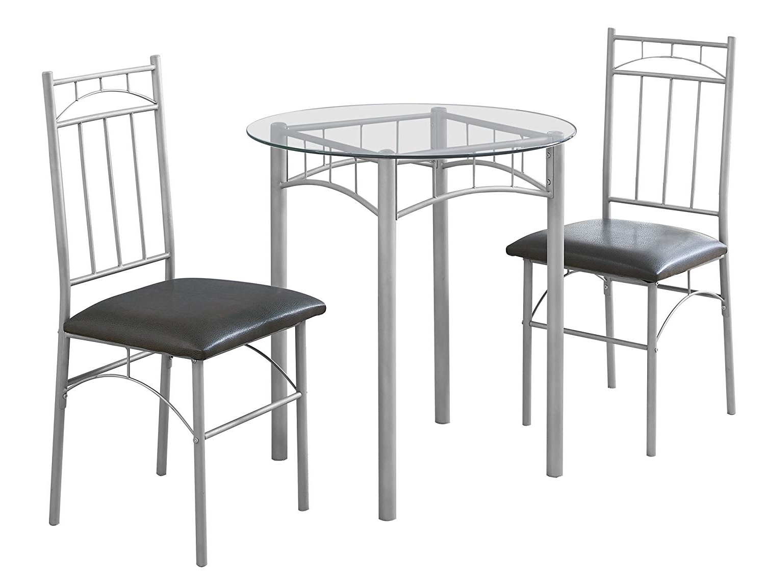 Most Popular Amazon: Candace & Basil Dining Set – 3Pc Set/silver Metal In Candice Ii Slat Back Side Chairs (View 14 of 20)