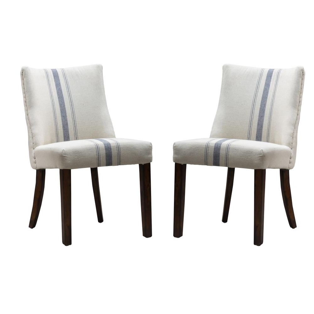 Most Popular Blue Stripe Dining Chairs In Noble House Harman Blue Stripe On Beige Linen Dining Chair (Set Of  (View 12 of 20)