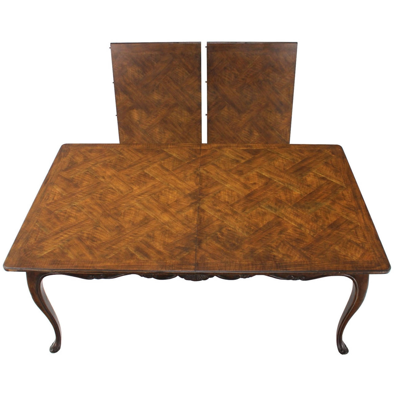Most Popular Burwood Walnut Dining Tableheritage W/ One Extension Leaf Inside Parquet Dining Chairs (View 11 of 20)