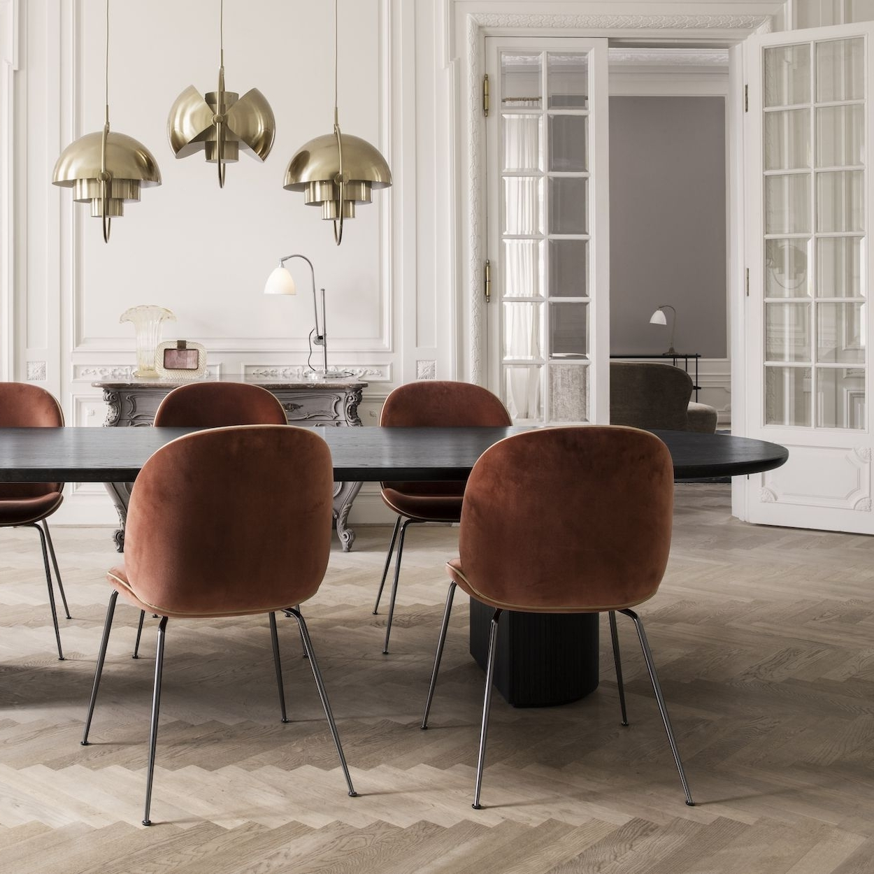 Most Popular Dark Olive Velvet Iron Dining Chairs With Regard To Image Result For Beetle Dining Chair Green Velvet With Black Legs (View 6 of 20)