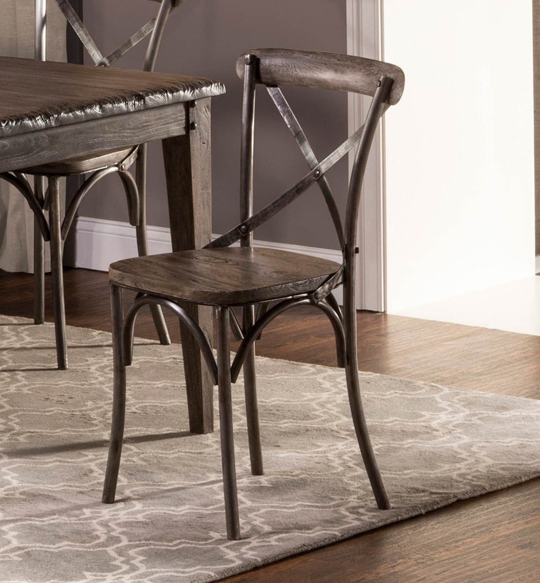 Most Recent Burton Metal Side Chairs With Wooden Seat Intended For Hillsdale Lorient X Back Dining Chair – Washed Charcoal Gray/aged (View 12 of 20)