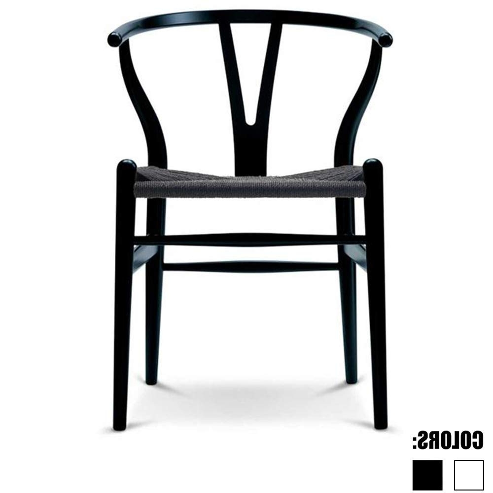Most Recent Burton Metal Side Chairs With Wooden Seat Pertaining To Amazon – 2Xhome Black Wishbone Wood Armchair With Arms Open Y (View 13 of 20)