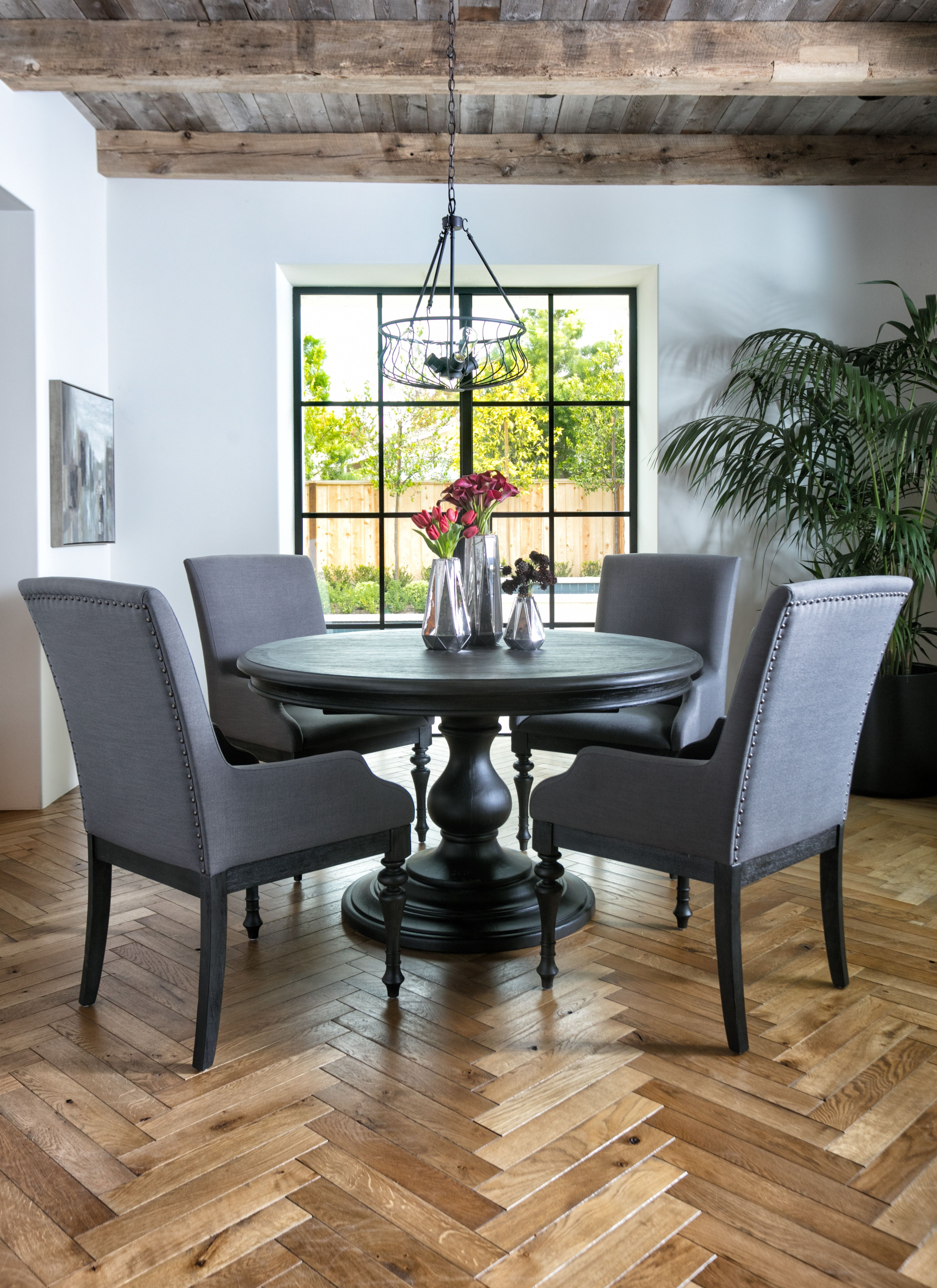Most Recent Caira Black 5 Piece Round Dining Set With Diamond Back Side Chairs For Caira Black Upholstered Side Chairs (View 13 of 20)