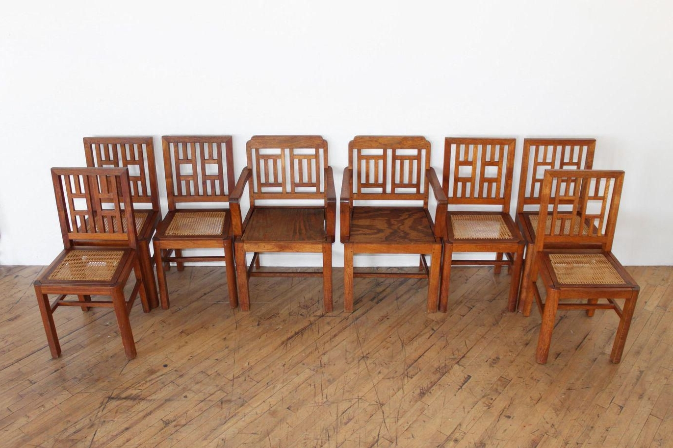 Most Recent Craftsman Side Chairs Pertaining To Antique Arts & Crafts Chairs  Hand Caned Craftsman Oak (View 12 of 20)