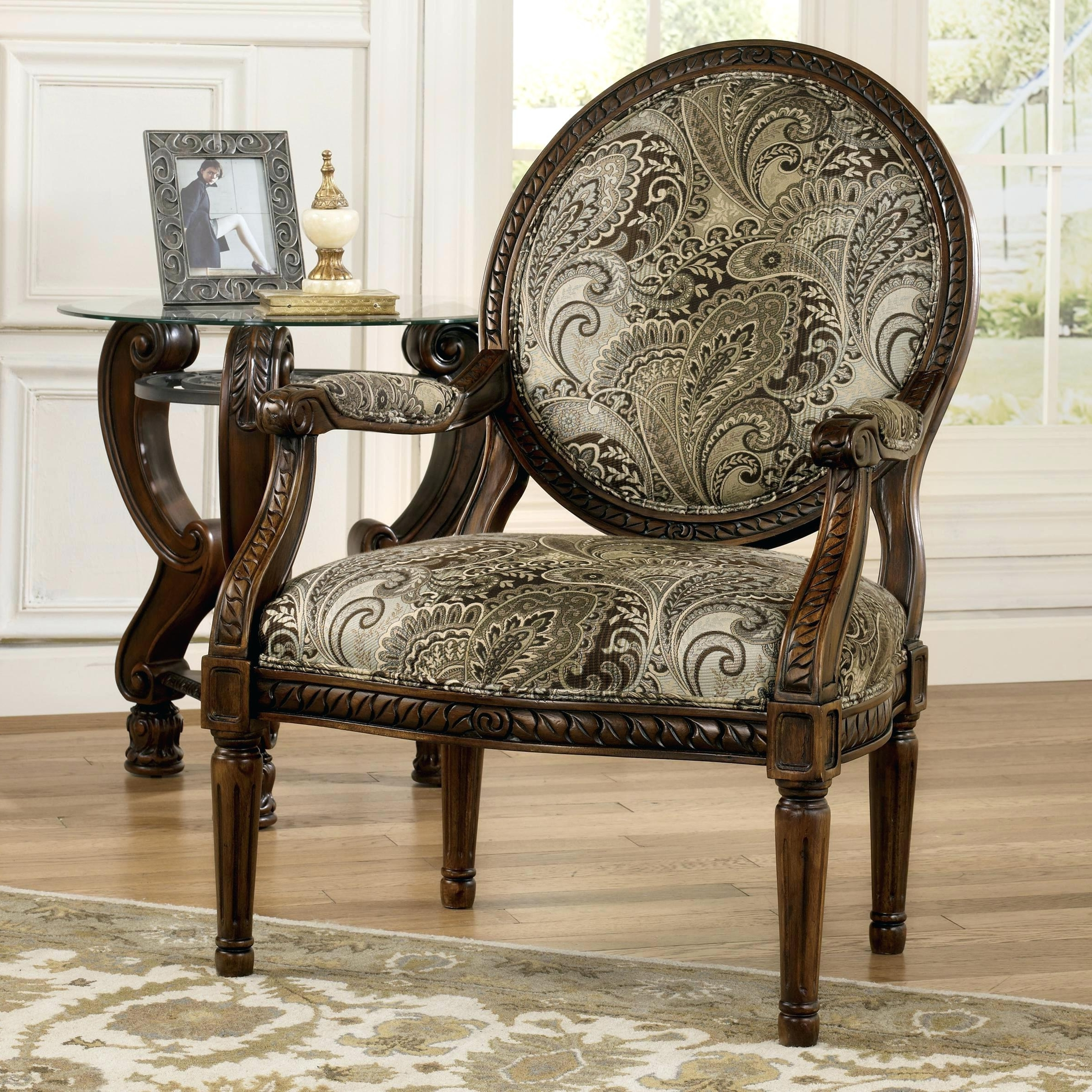 Most Recent Laurent Upholstered Side Chairs With Regard To Wood Frame Accent Chairs Signature Designtraditional Accent (View 19 of 20)