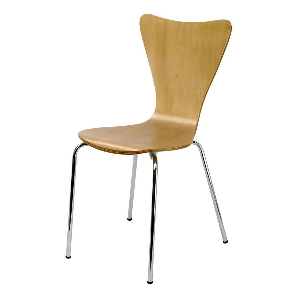 Most Recent Legare Bent Plywood Natural Wood Stack Chair With Chrome Plated With Plywood & Metal Brown Dining Chairs (View 9 of 20)