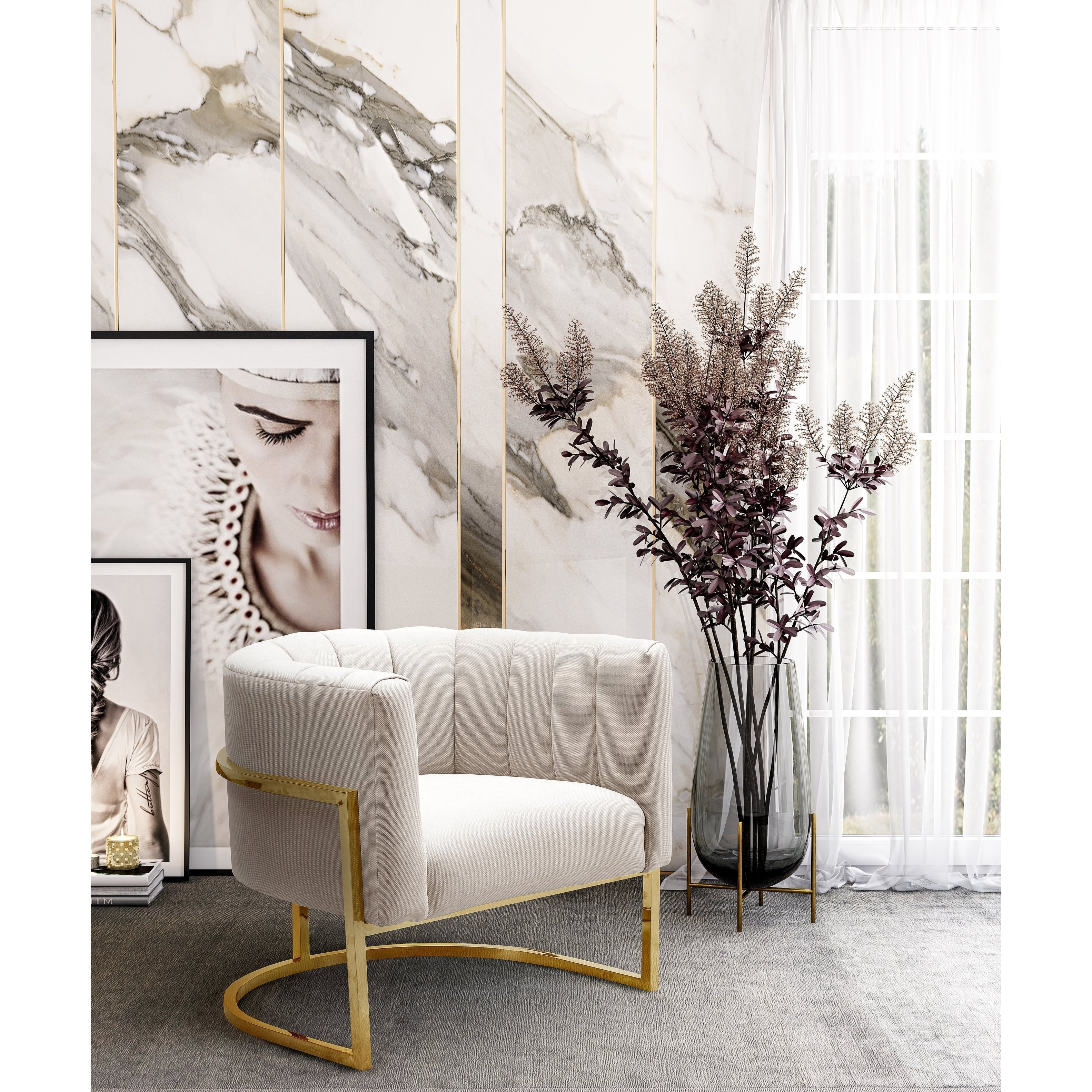 Most Recent Magnolia Home Method Mesh Back Side Chairs Regarding Shop Magnolia Spotted Cream Chair With Gold Base – Free Shipping (View 20 of 20)