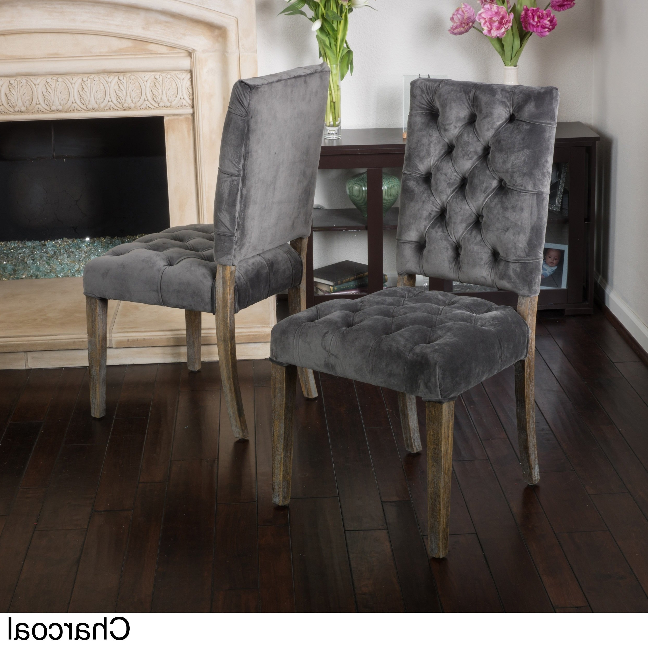 Most Up To Date Charcoal Dining Chairs Intended For Shop Saltillo Velvet Dining Chair (Set Of 2)Christopher Knight (View 14 of 20)