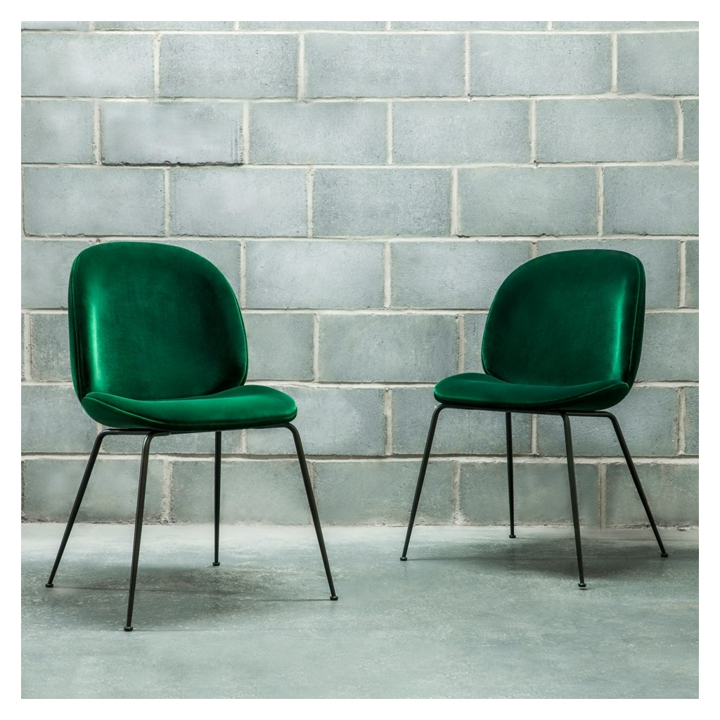 Most Up To Date Dark Olive Velvet Iron Dining Chairs Pertaining To Beetle Dining Chair Green Velvet With Black Legs – The Conran Shop (View 3 of 20)