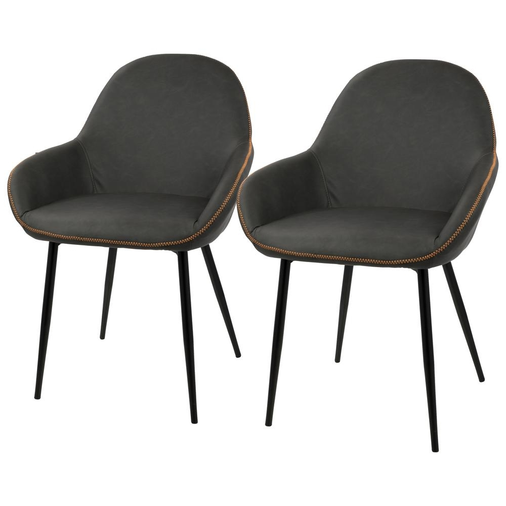 Most Up To Date Grey Dining Chairs For Lumisource Black And Grey Clubhouse Vintage Faux Leather Dining (View 16 of 20)