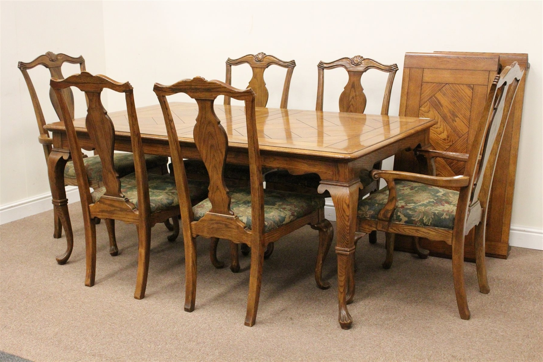 Most Up To Date Rectangular Oak Parquet Extending Dining Table With Two Leaves And Regarding Parquet Dining Chairs (View 17 of 20)