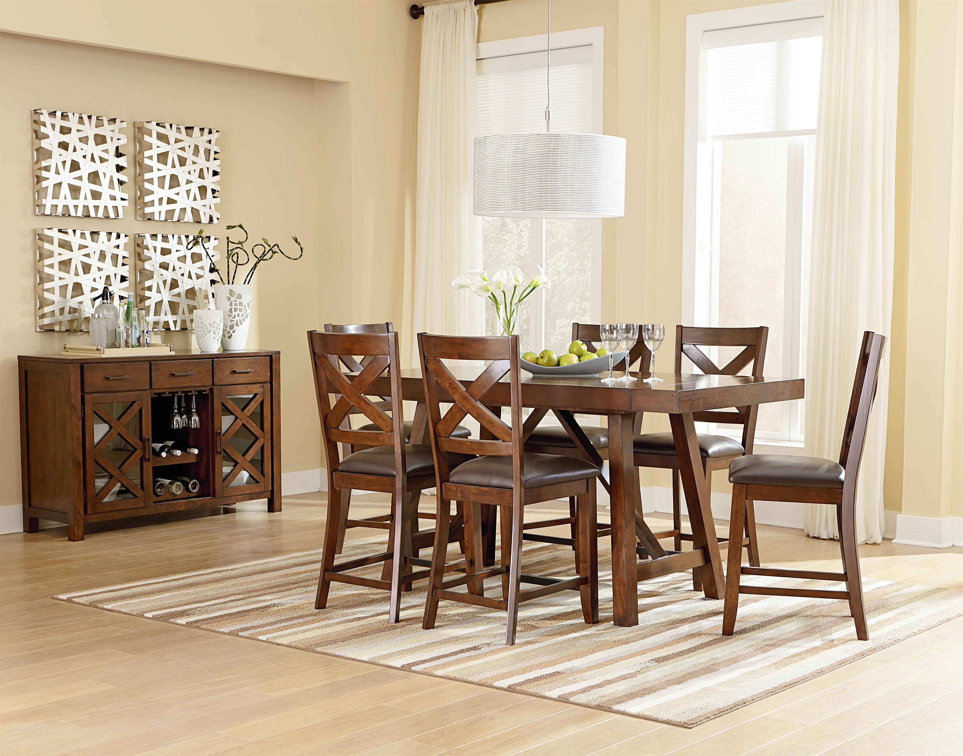 Most Up To Date Standard Furniture Omaha Brown Counter Height 7 Piece Table Set With In Natural Brown Teak Wood Leather Dining Chairs (View 11 of 20)