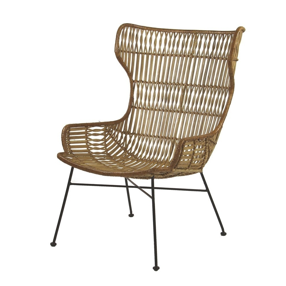 Natural Rattan Metal Chairs With Regard To Most Recent Palermo Lounge Chair Natural Rattan – Pomax (View 17 of 20)