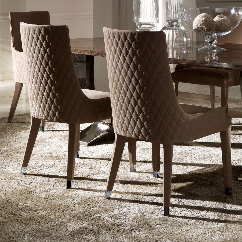 Newest Contemporary Quilted Nubuck Leather Italian Dining Chairs Intended For Quilted Black Dining Chairs (View 14 of 20)
