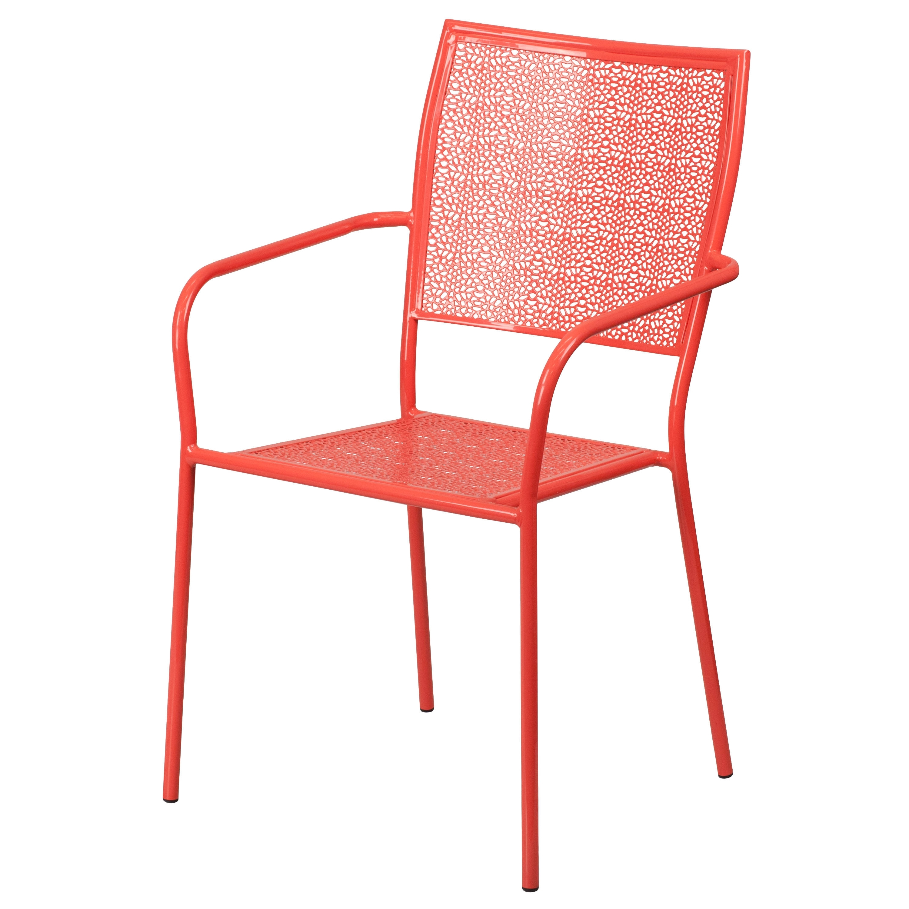 Newest Flash Furniture Coral Indoor Outdoor Patio Arm Chair With Square For Cora Ii Arm Chairs (Gallery 4 of 20)