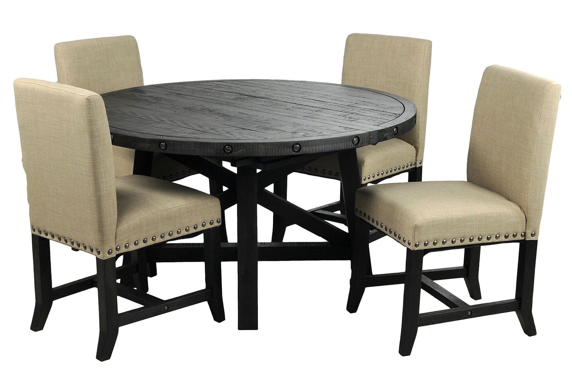 Newest Jaxon Wood Side Chairs Inside Jaxon 5 Piece Round Dining Set Wupholstered Chairs Dining Set With (View 8 of 20)