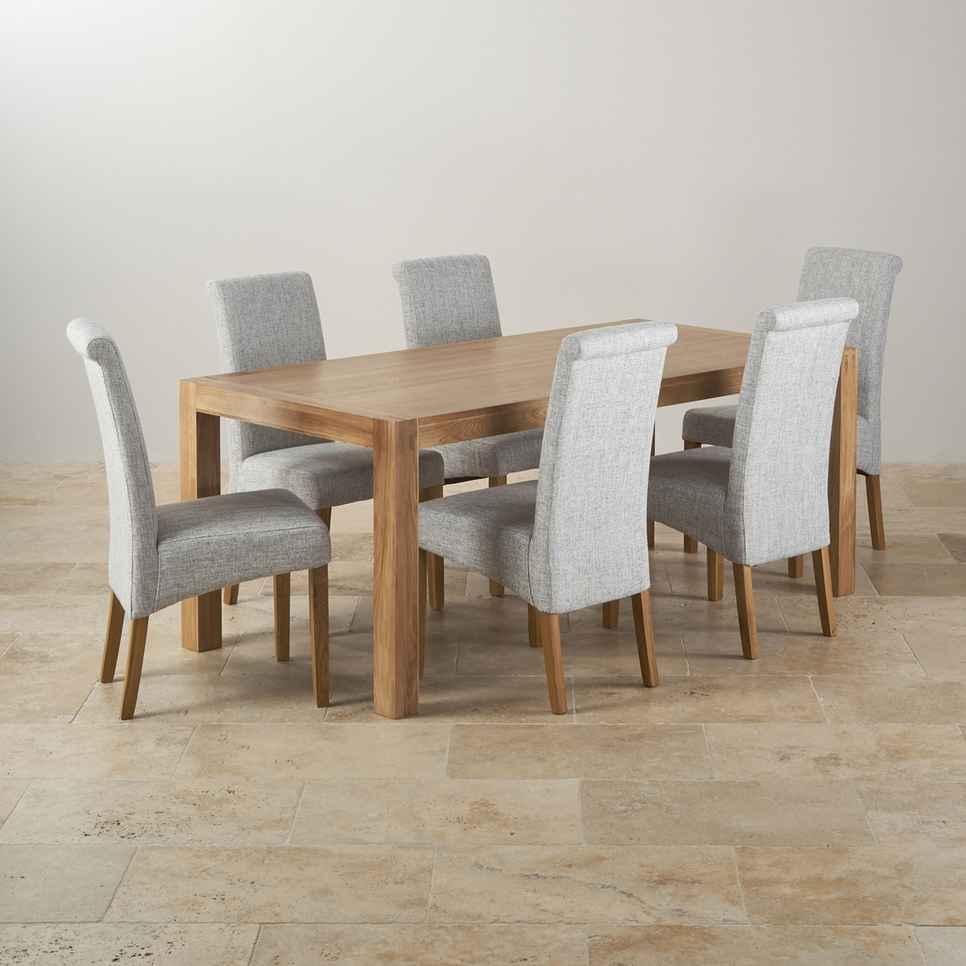Newest Laurent Wood Side Chairs Within Alto Solid Oak 6ft Dining Table With 6 Grey Fabric Chairs Ghost (View 20 of 20)