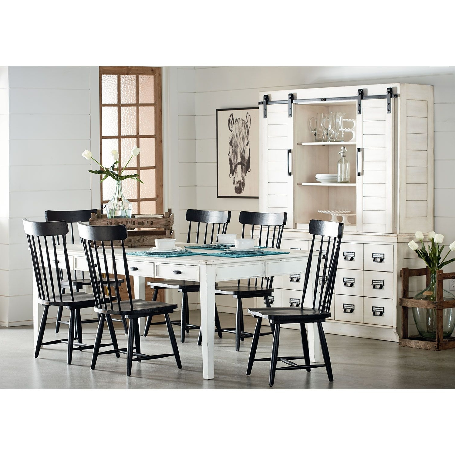 Newest Magnolia Home Kempton White Side Chairs Bjg Inside Farmhouse Keeping Table, Six Farmhouse Spindle Back Chairs And Two (View 6 of 20)