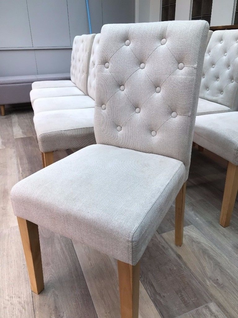 Next Moda Button Dining Chair – In Cream (1 Chair) (10 Available For Well Known Moda Grey Side Chairs (Gallery 15 of 20)