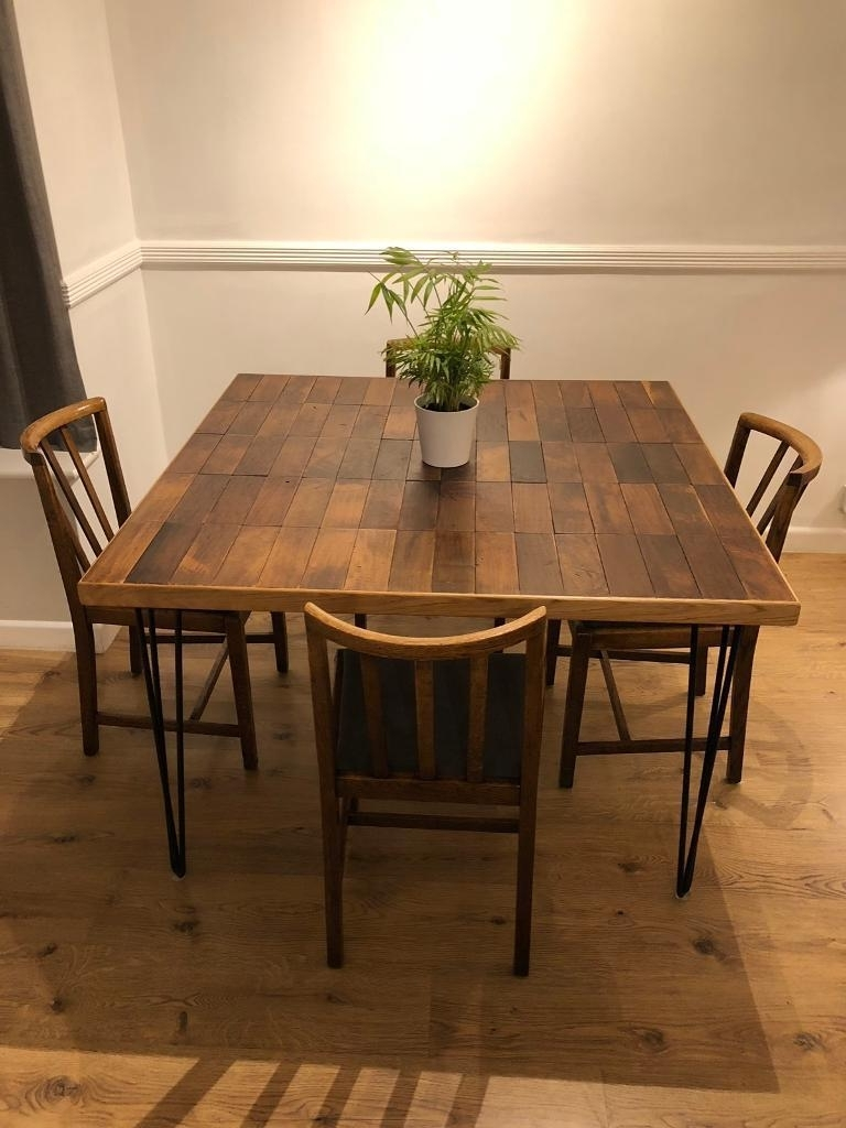Oak Parquet Dining Table With 4 Oak Chairs (Gallery 5 of 20)