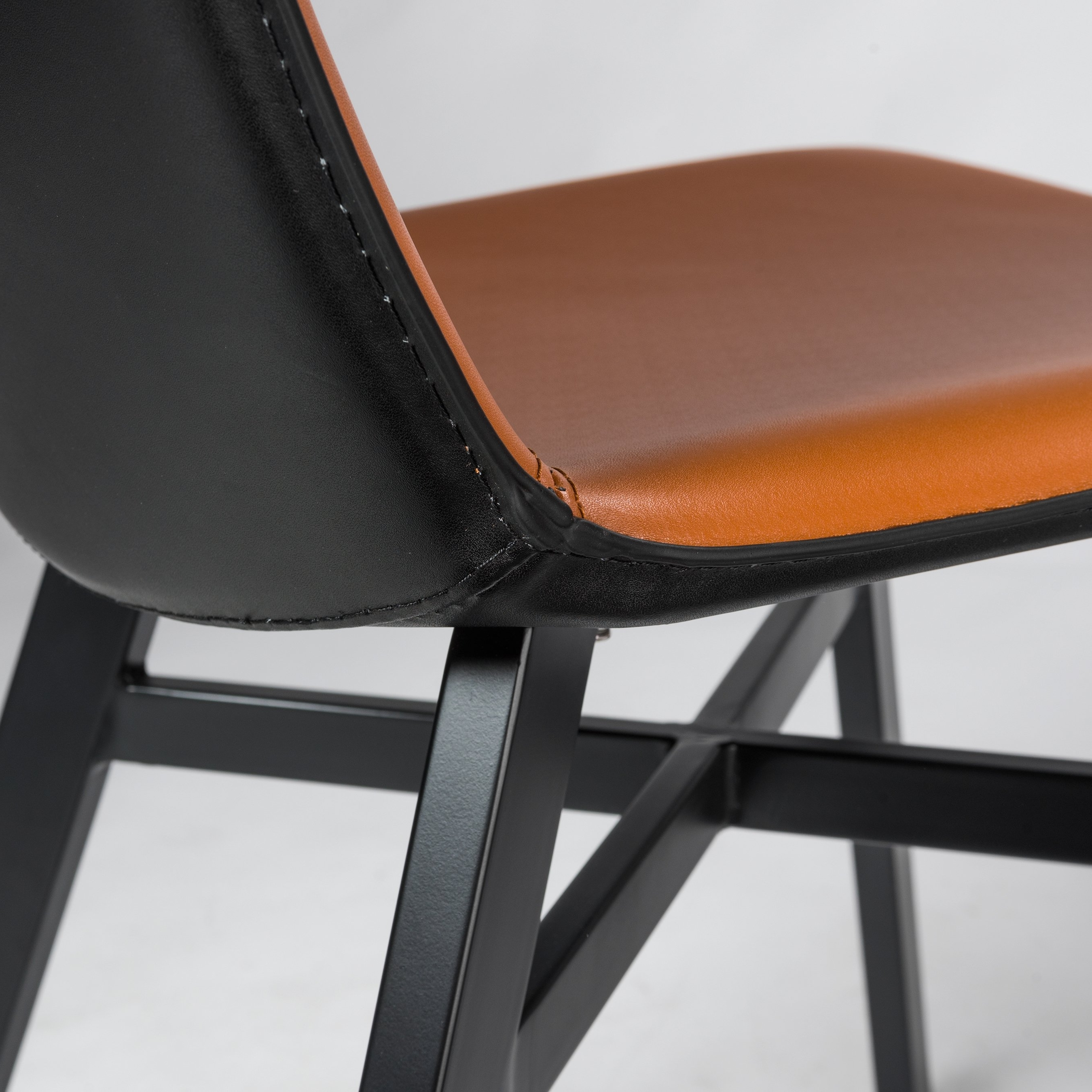 Octavia Cognac And Black Regenerated Leather Side Chair (set Of 2 Inside Current Hayden Cognac Side Chairs (View 6 of 20)