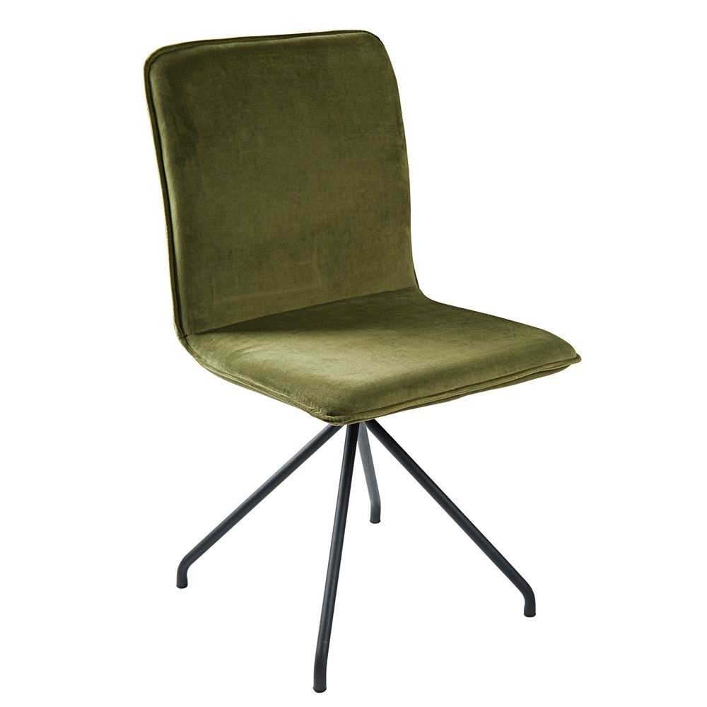Olive Green Velvet And Black Metal Chair (Gallery 2 of 20)