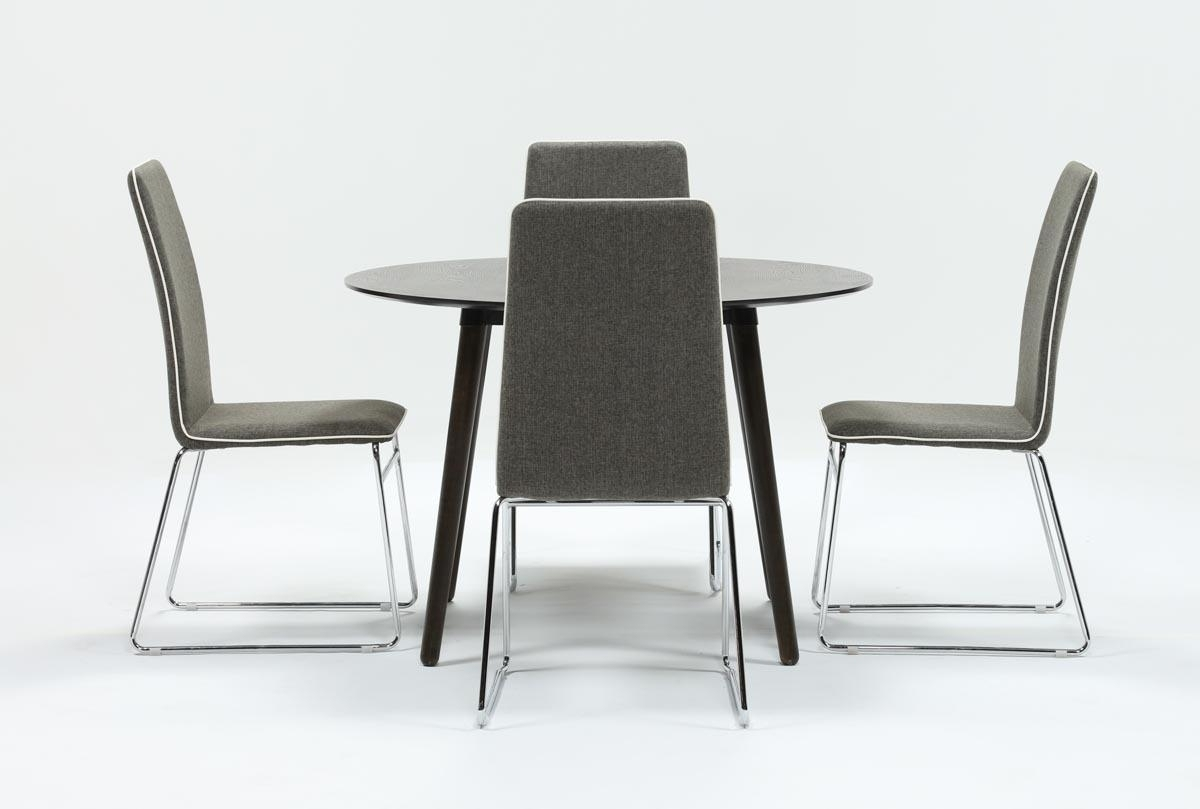 Oliver Side Chairs Inside Widely Used Swift 5 Piece Round Dining Set With Oliver Side Chairs (View 9 of 20)