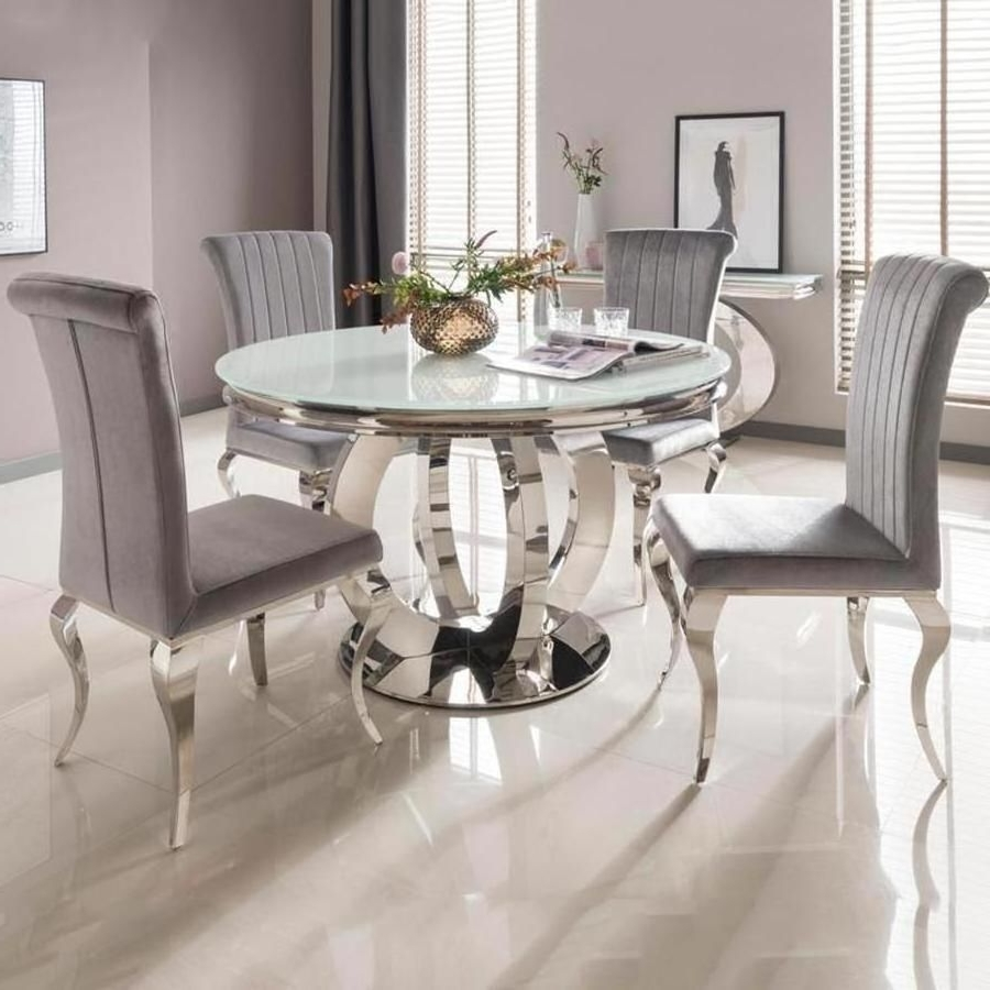 Orion Side Chairs Within Popular Vida Living Orion White Round Dining Table And 4 Silver Nicole Chairs (View 10 of 20)