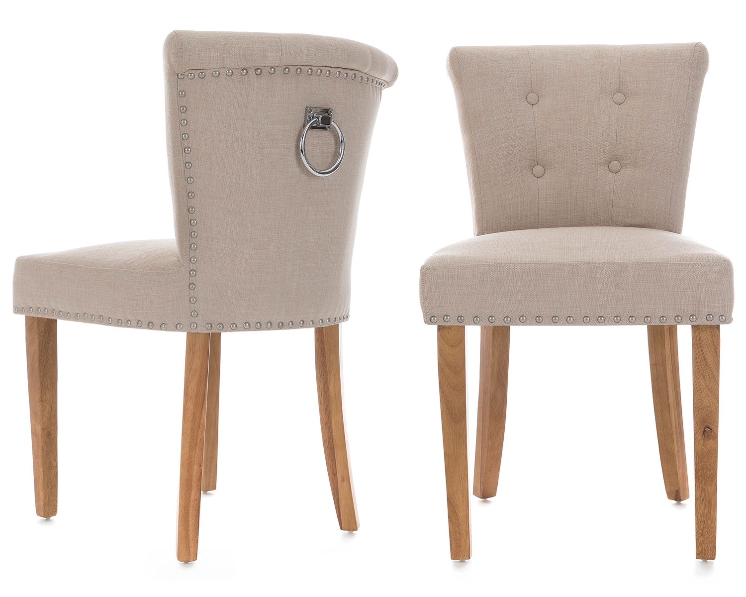 Pair Of Camden Dining Chairs In Cream Linen With Chrome Knocker And Regarding Well Liked Camden Dining Chairs (View 12 of 20)