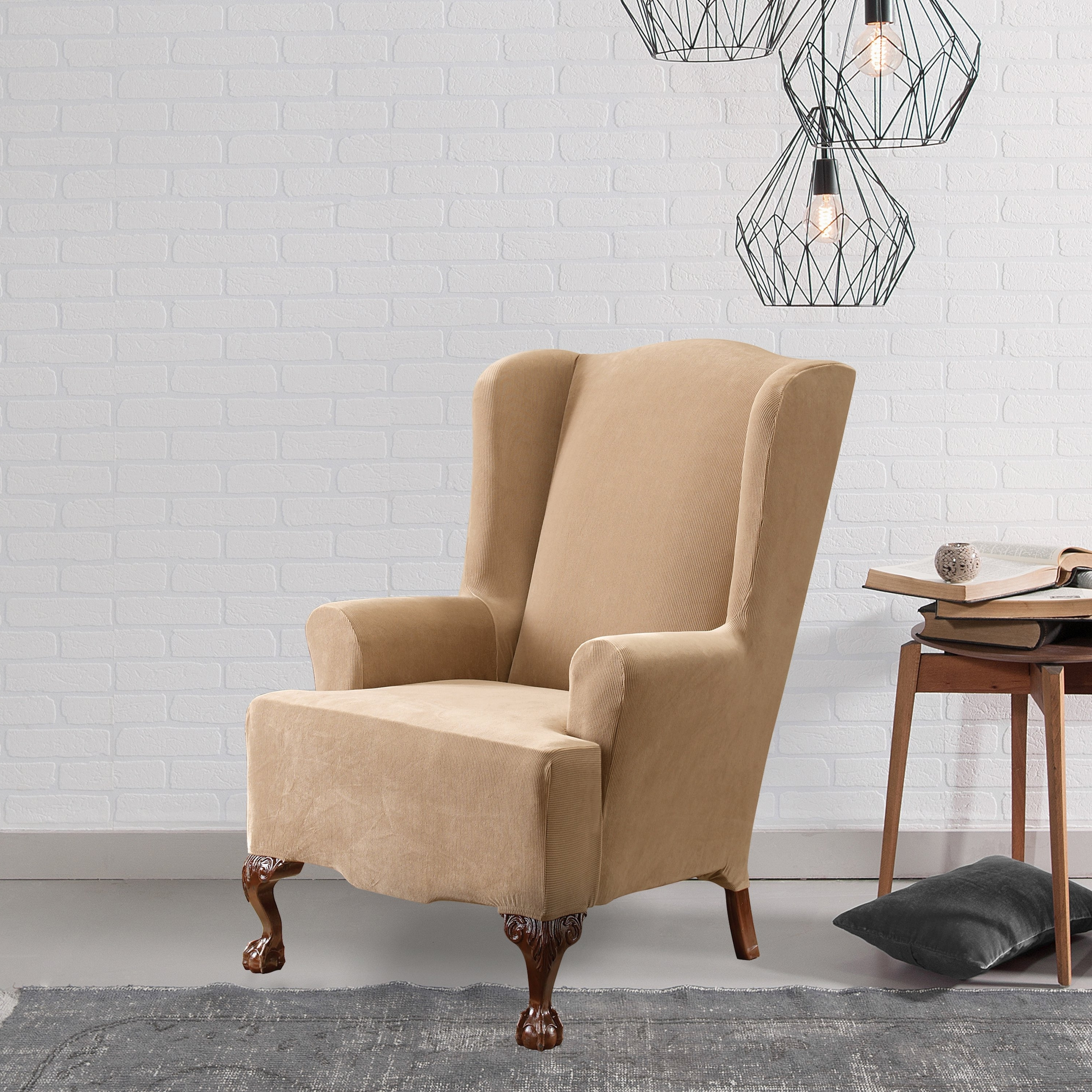 Pearson White Slipcovered Side Chairs Pertaining To Most Current Shop Sure Fit Stretch Pearson Wingback Chair Slipcover – Free (View 12 of 20)