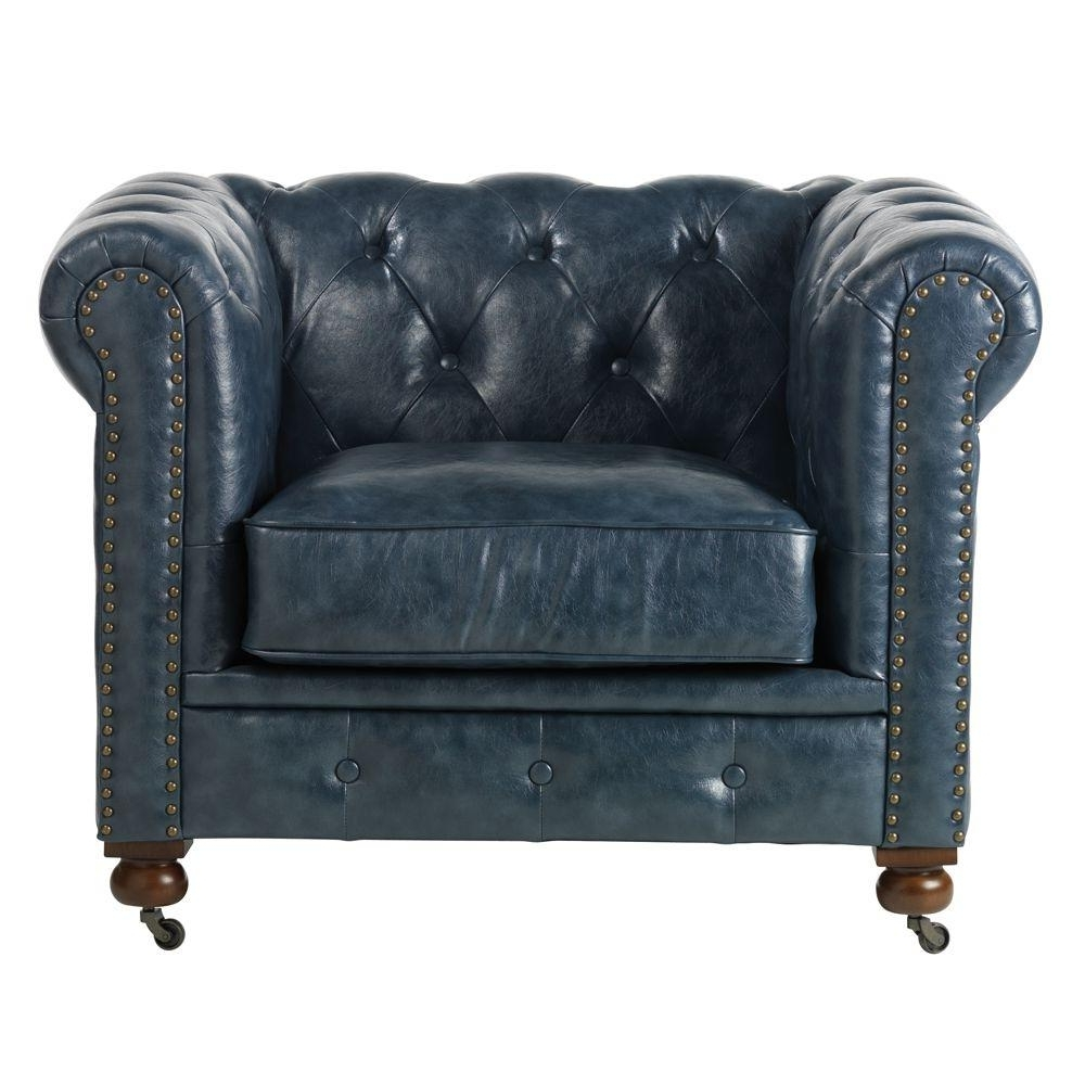 Pilo Blue Side Chairs With Regard To Favorite Home Decorators Collection Gordon Blue Leather Arm Chair (View 18 of 20)
