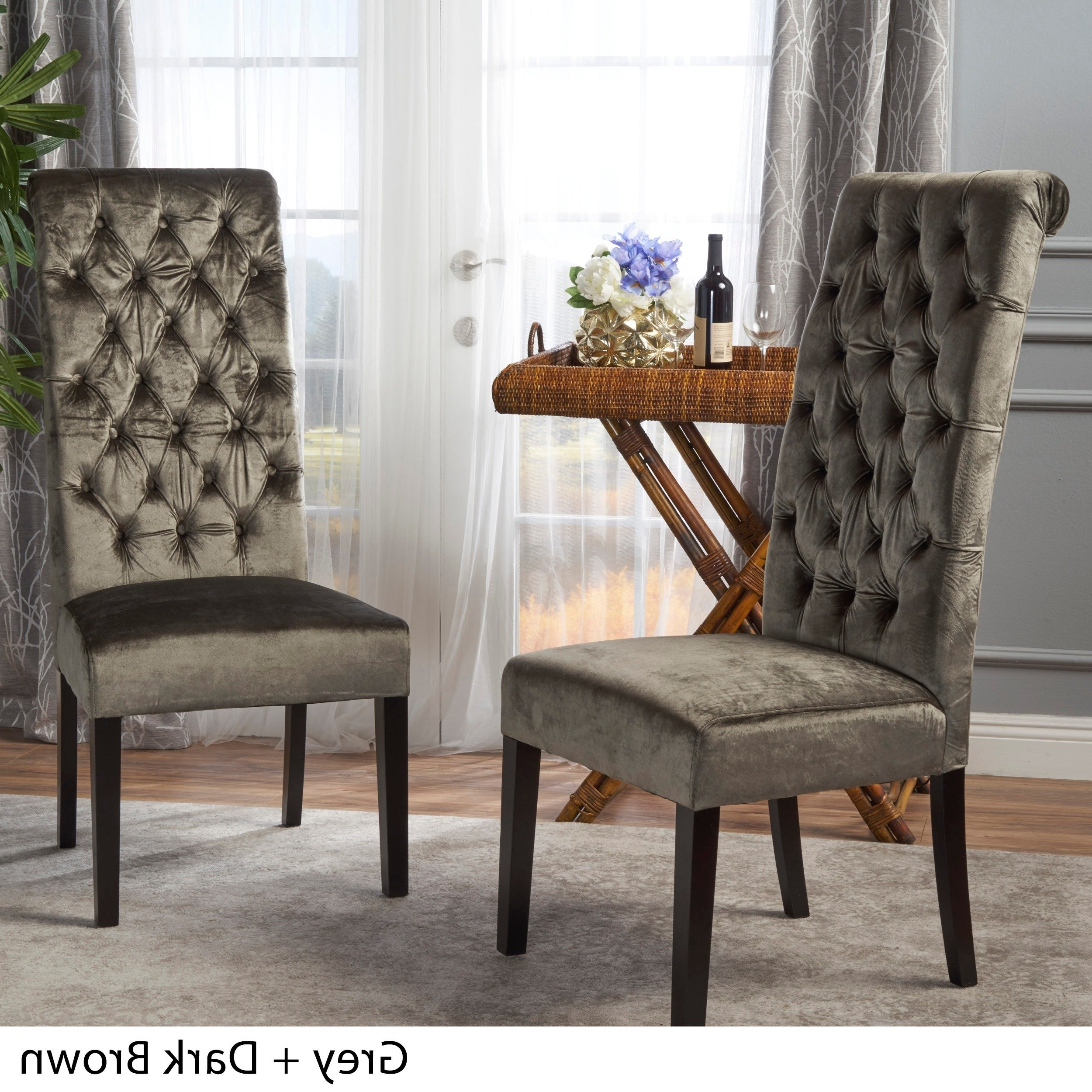 Pilo Grey Side Chairs For Widely Used Shop Leorah Tall Back Tufted Velvet Dining Chair (set Of 2) (View 19 of 20)