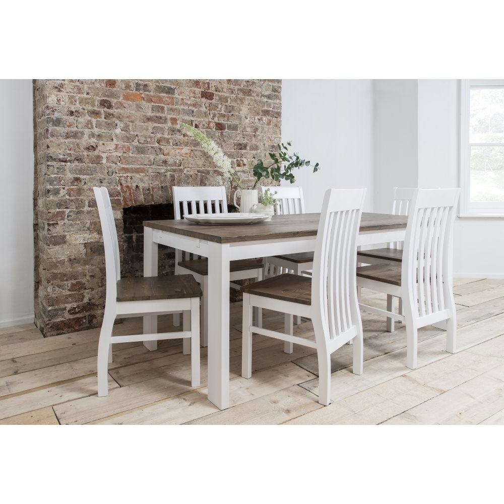 Pine Wood White Dining Chairs Inside 2017 Hever Dining Table With 6 Chairs In White And Dark Pine (View 4 of 20)